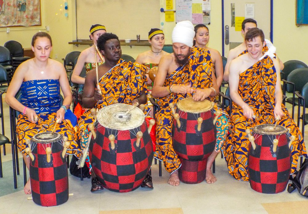 Drumming students and professors from Tufts University, MA during their Cultural Display.