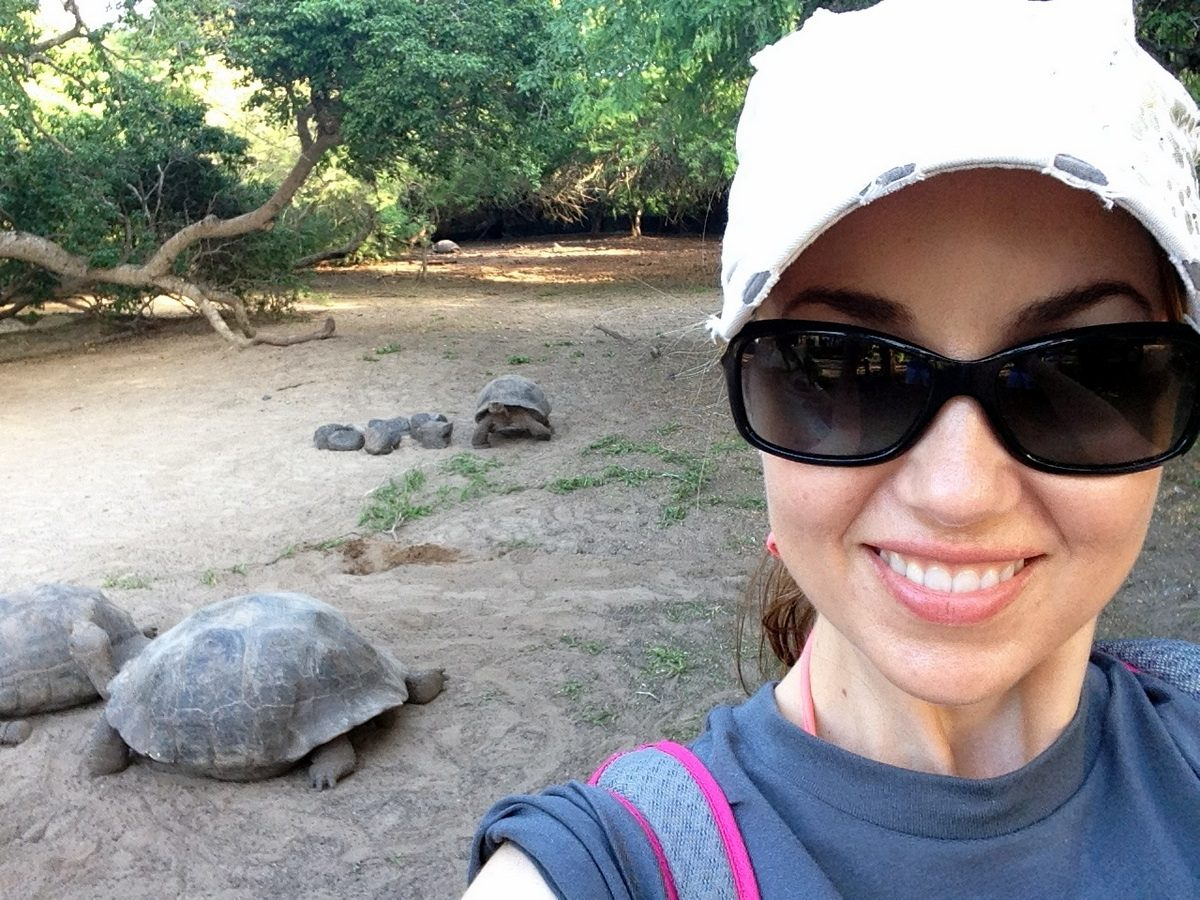 Ecuador, Galapagos, with turtles behind.