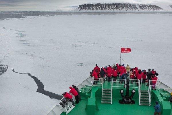 Bow-breaking ice on the Arctic Svalbard Expedition Ship.