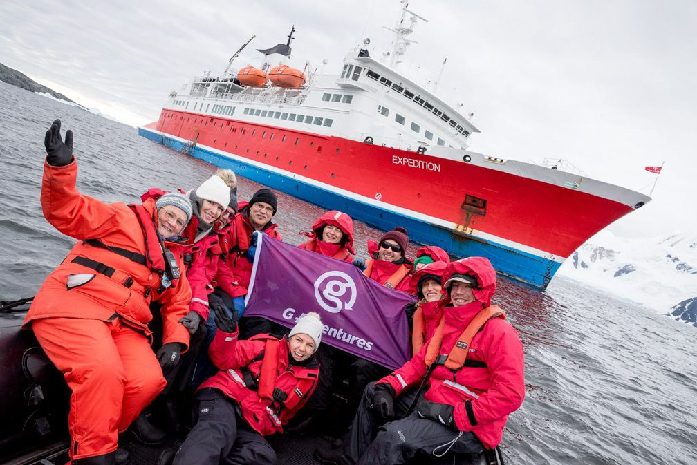 Susan with the G Adventures Expedition ship in the polar region.