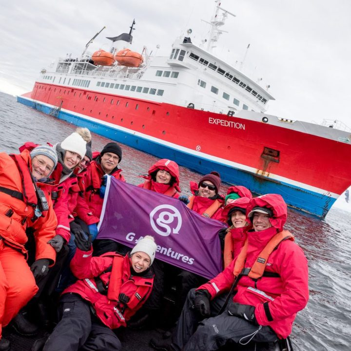 Susan with the G Adventures Expedition ship.