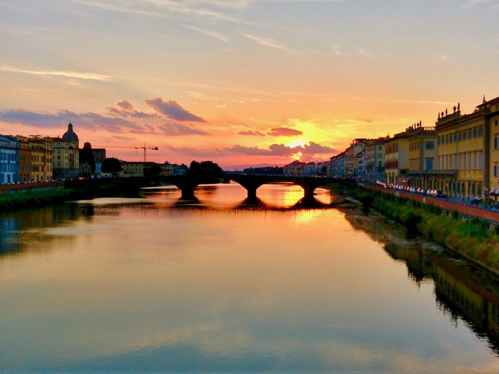 Ponte Vecchio in Florence at sunset.