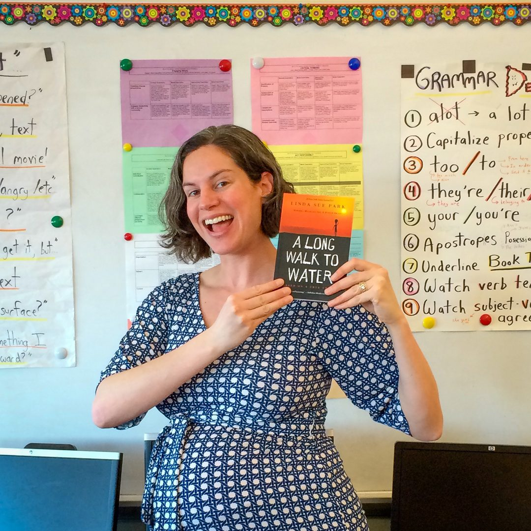 Lillie (Teaching Traveling's founder) very pregnant and fundraising with her class for the Iron Giraffe Challenge.