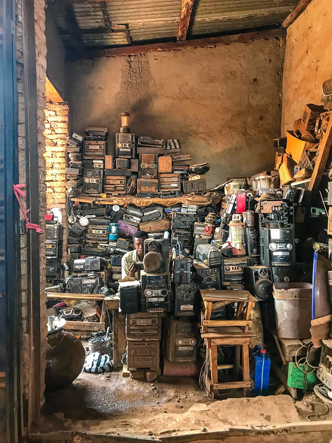 An electronics stall in the market in South Sudan.
