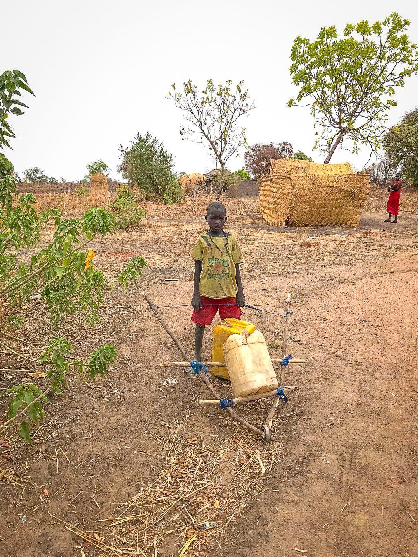 A wheelbarrow for water.