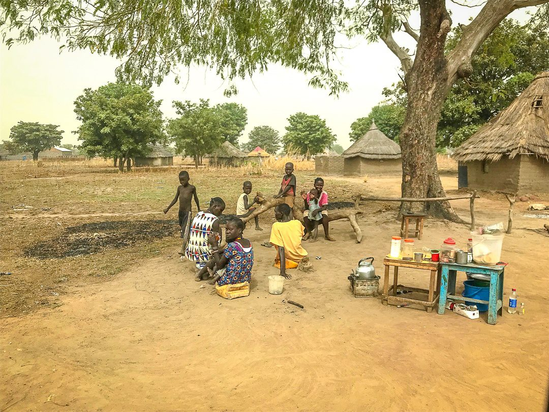 Eating under a tree in South Sudan.