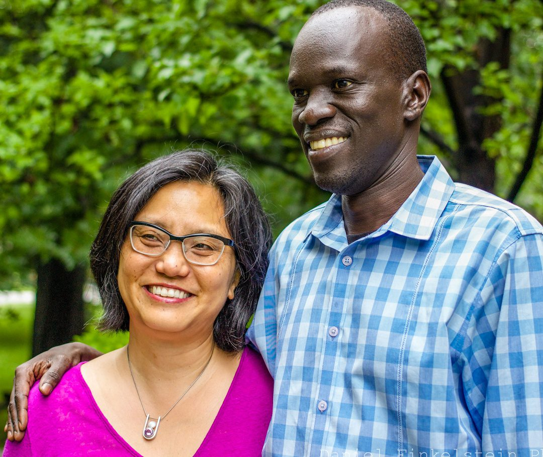 """Linda Sue Park, author of """"A Long Walk to Water"""", and Salva Dut."""