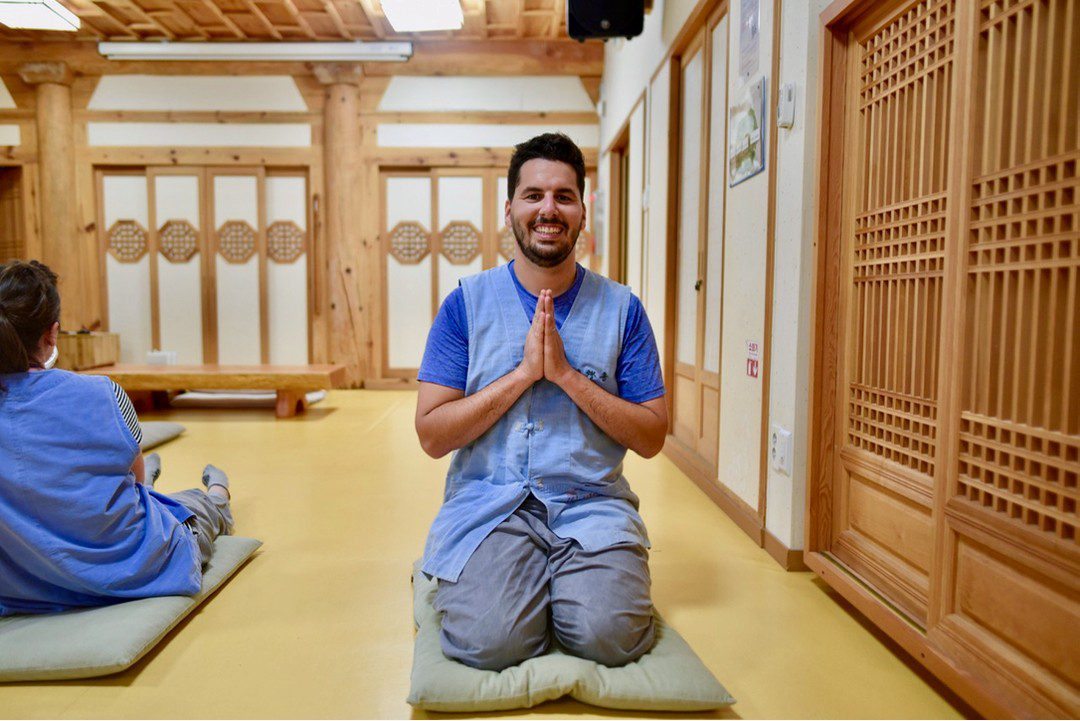 Matt during his Buddhist temple stay in South Korea.