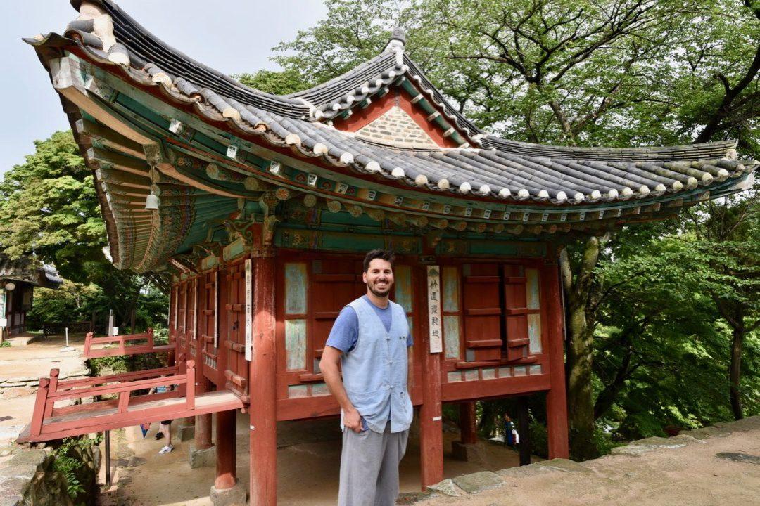 Matt at a Buddhist Temple in South Korea.