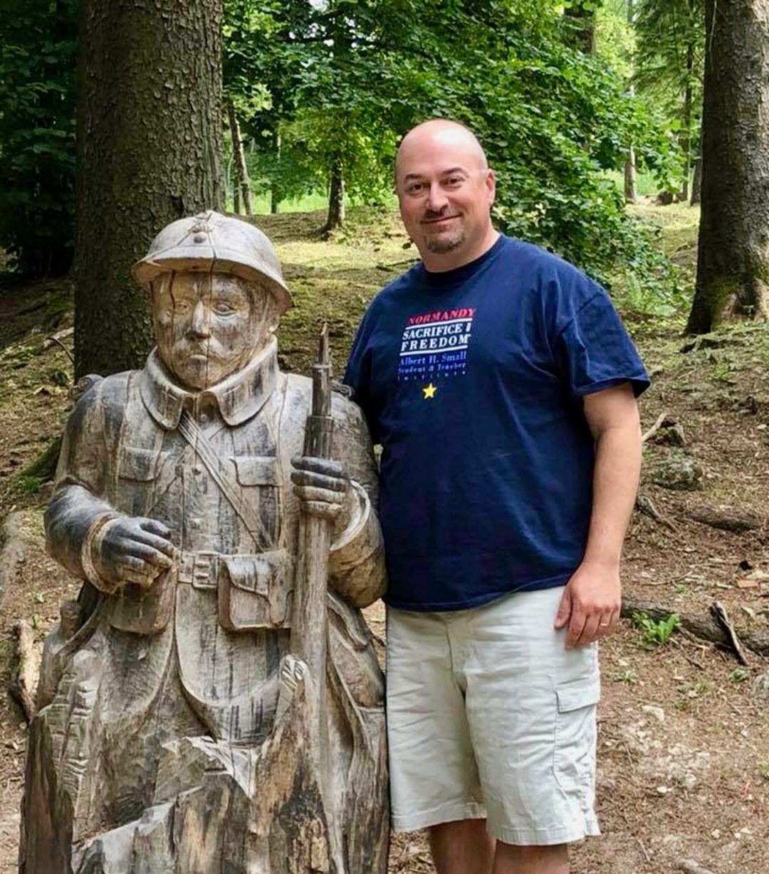 Teacher travel grants for History and Social Studies educators: 6 funded global education programs! In the destroyed village of Fleury near Verdun, France. The village was completely destroyed in the Battle of Verdun in 1916. Someone has carved a French poilu into a stump in the village.