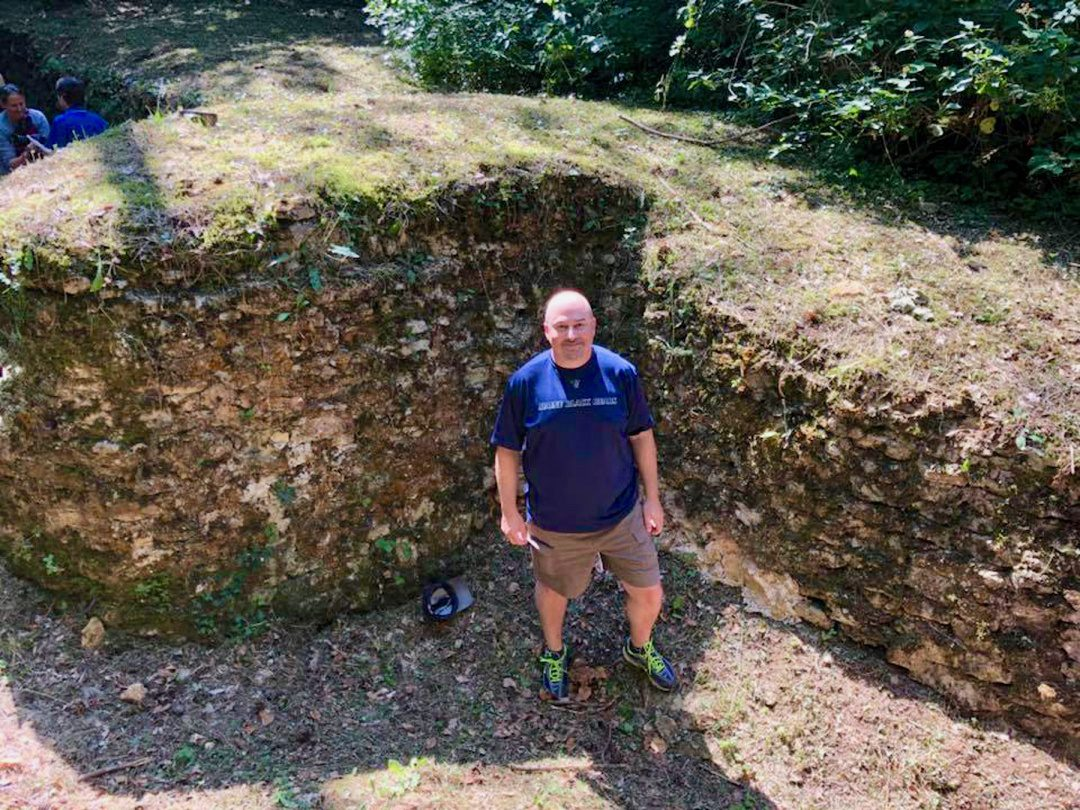 Shane in one of the preserved German trenches from WWII near Verdun, France.