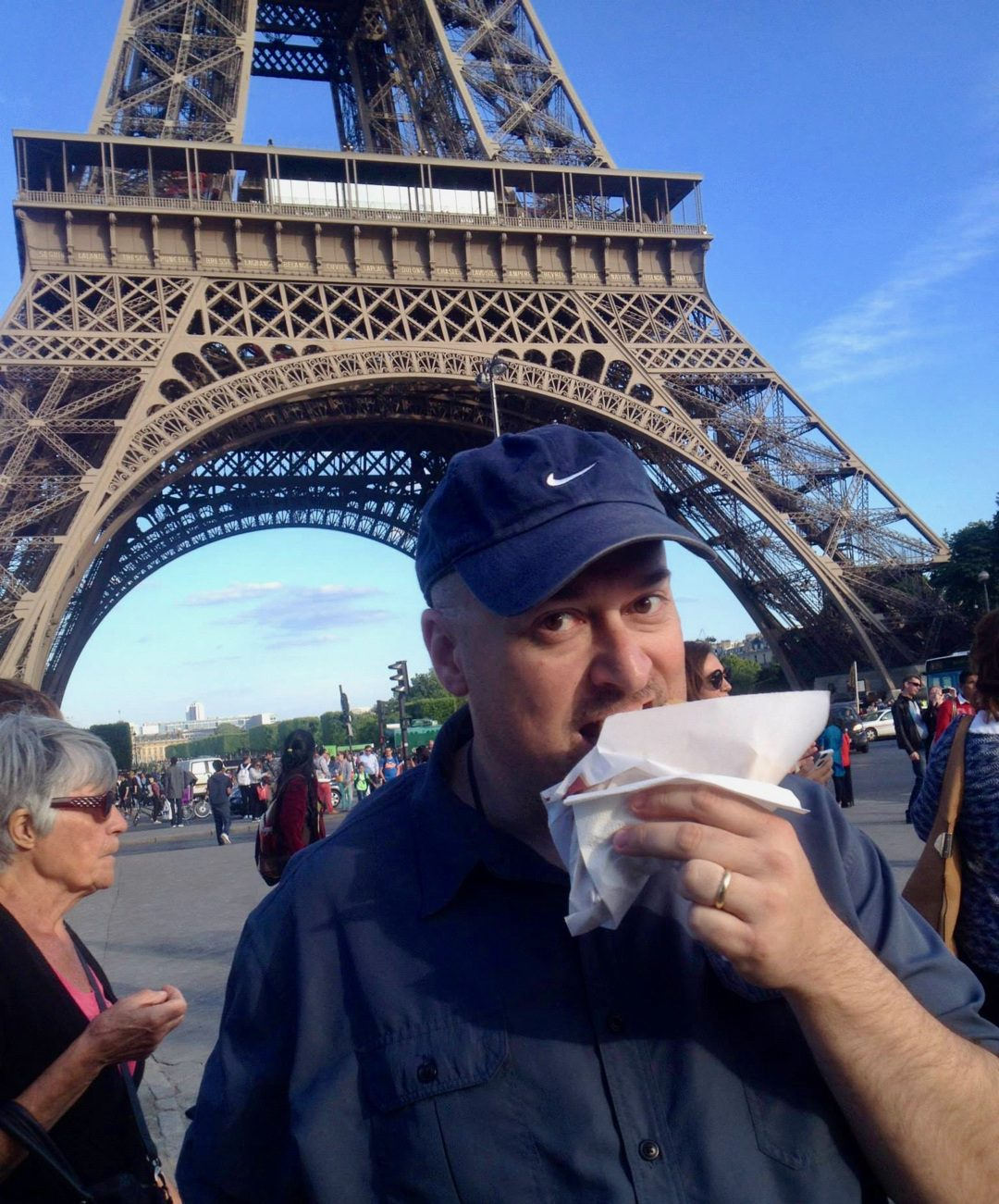 Eating a Nutella crepe at the Eiffel Tower in Paris.