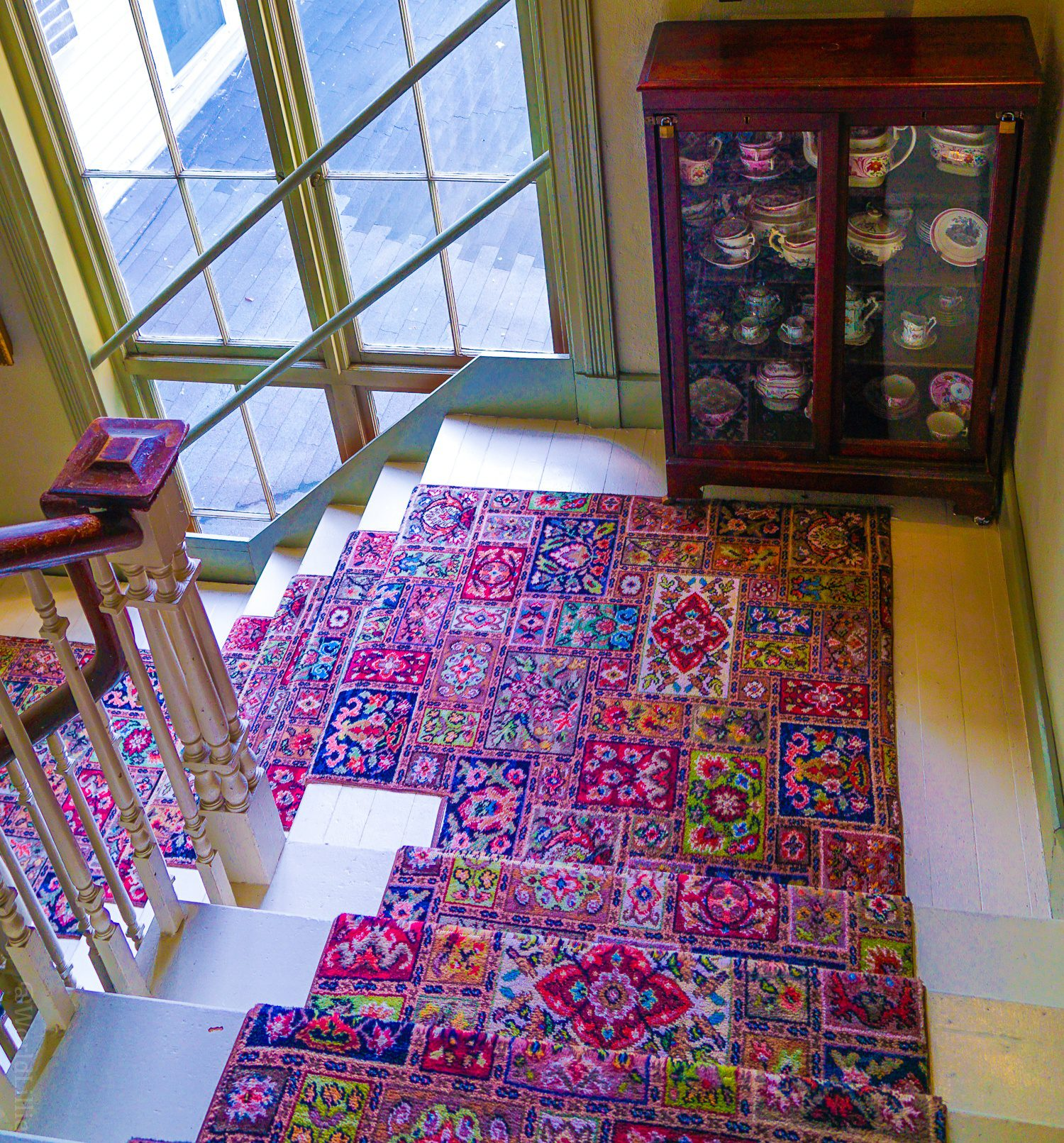 Beautiful pattered antique hotel carpets. Traveling or travelling
