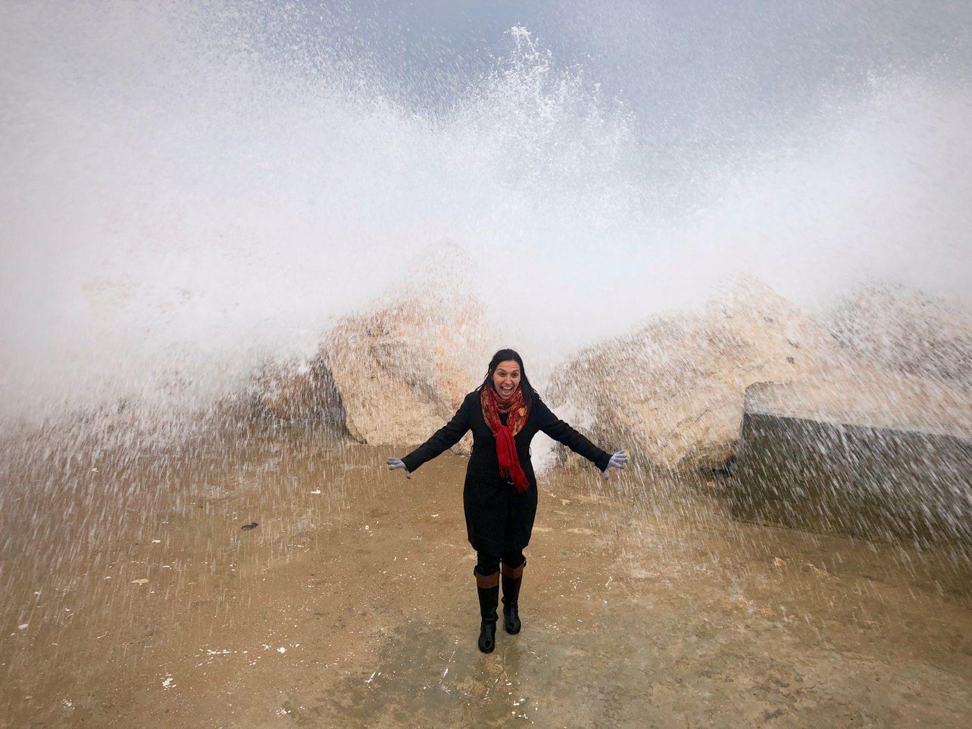 With crashing waves in Halat, Lebanon.