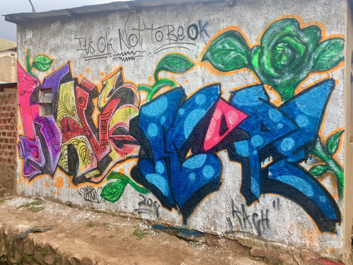 "A Sparrow and Rach original ""HAVE HOPE"" mural in Kampala, Uganda."