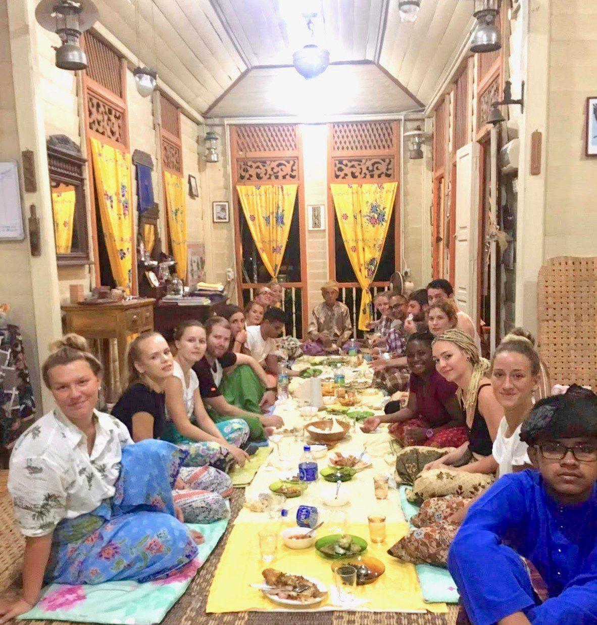 Eating inside Suka Suka homestay in Malaysia.