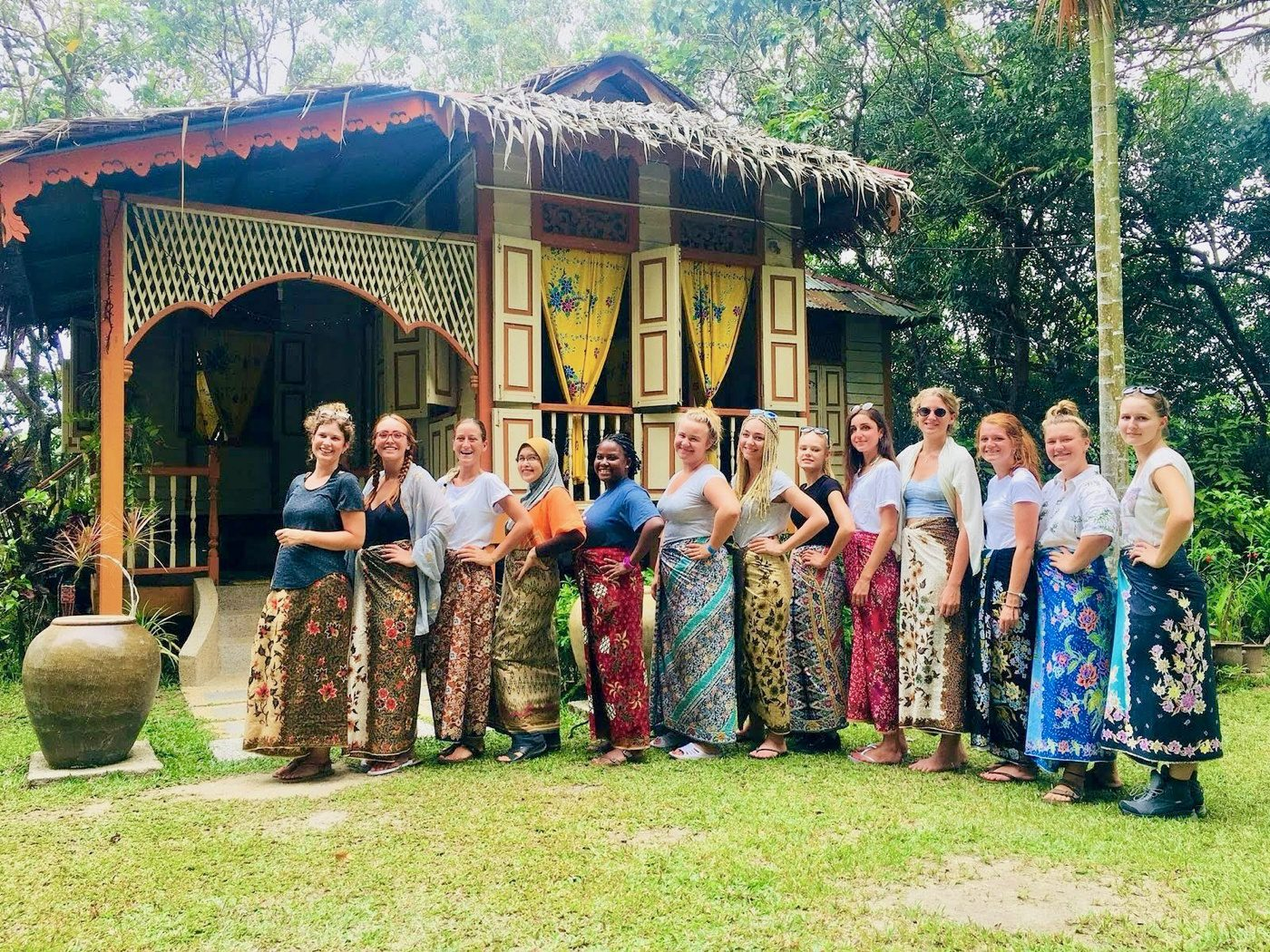 The tour group at the homestay in Malaysia.