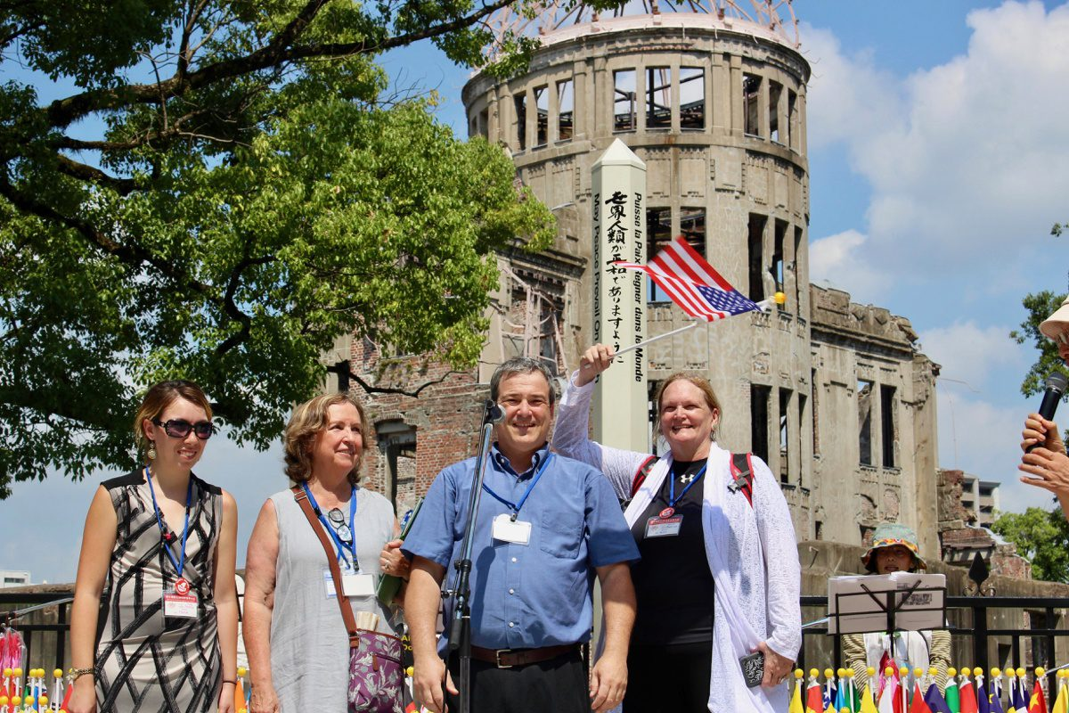 Myself and the other three American educators giving a message of peace in front of the A Bomb Dome on August 6. The 73rd anniversary of the bombing.