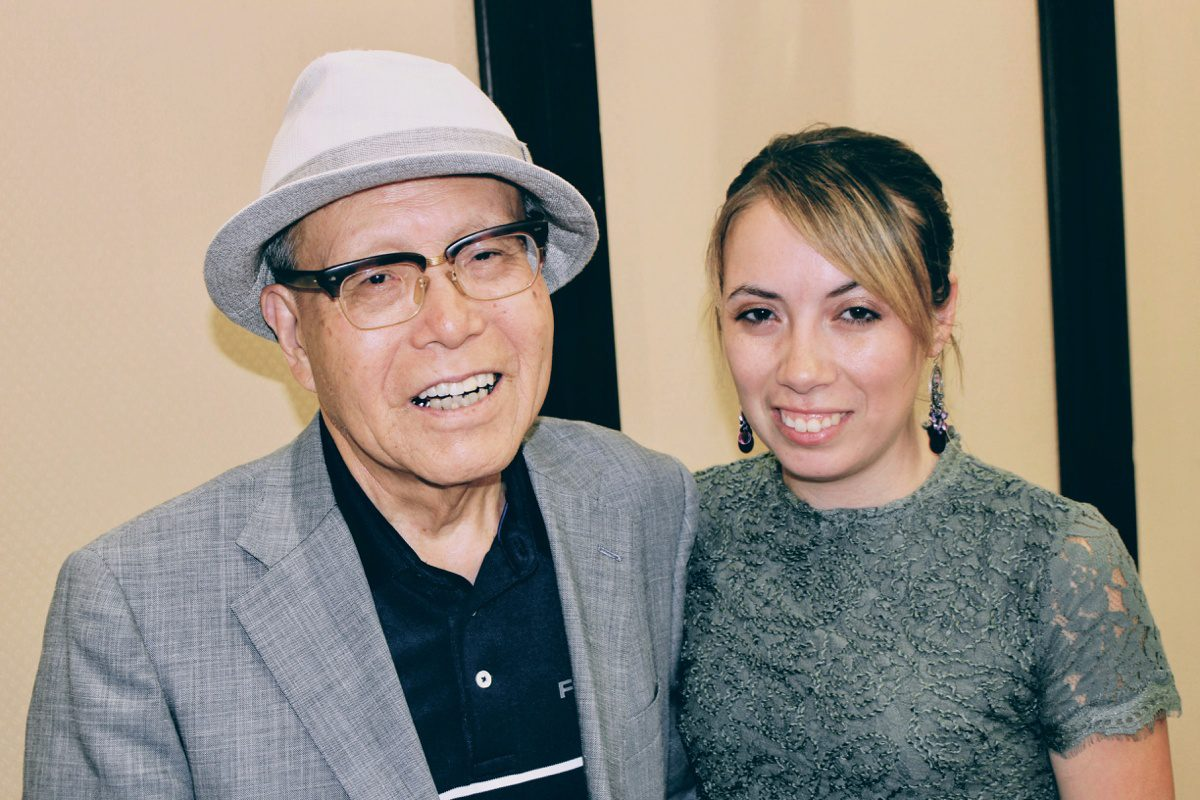 Photo with Mr. Mori, a Hibakusha (Atomic Bomb survivor), who has researched the lives of American POW who were held prisoner in Hiroshima.