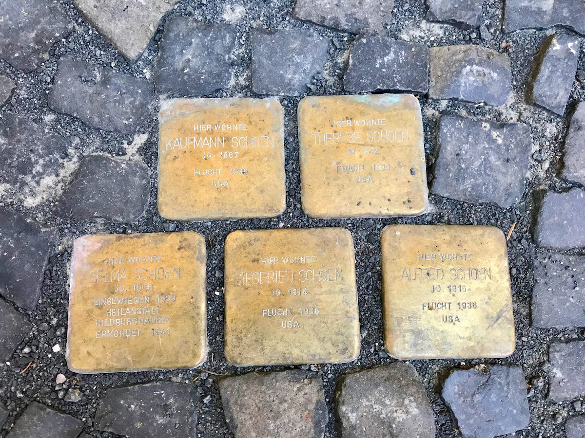 Stumbling stones in Vacha. Nate helped complete the research for these thanks to a connection he made through a TOP study tour.