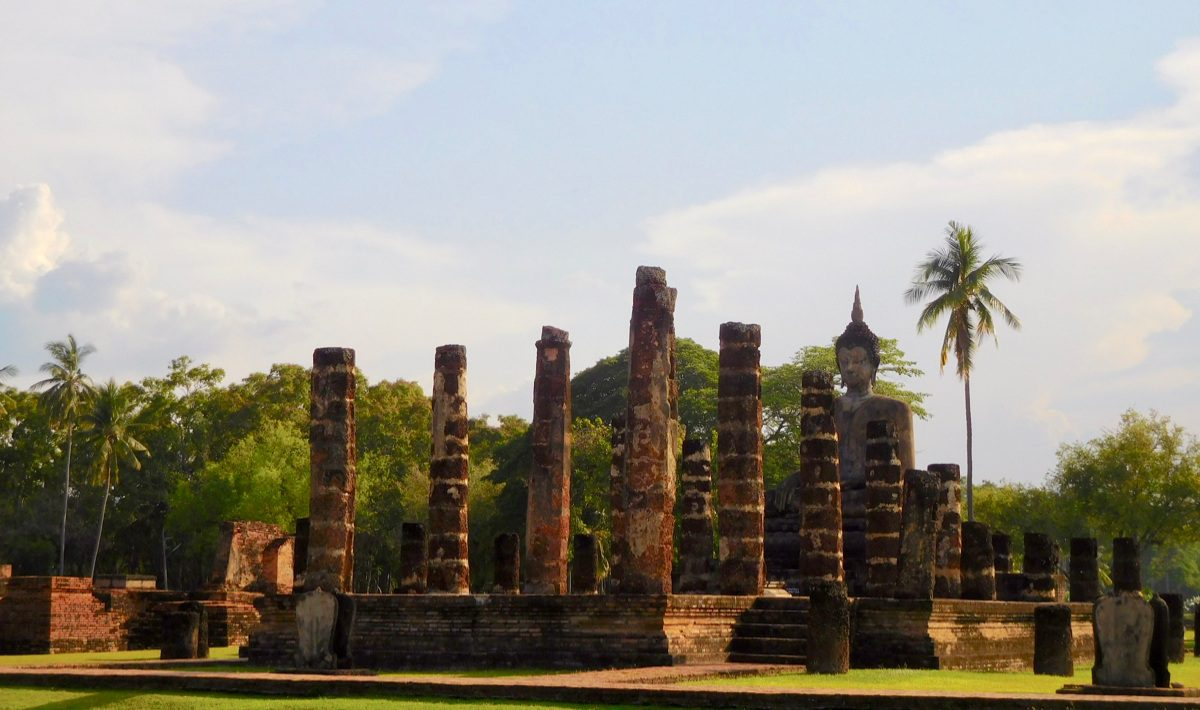 Cycling around the ruins of Sukhothai, Thailand.