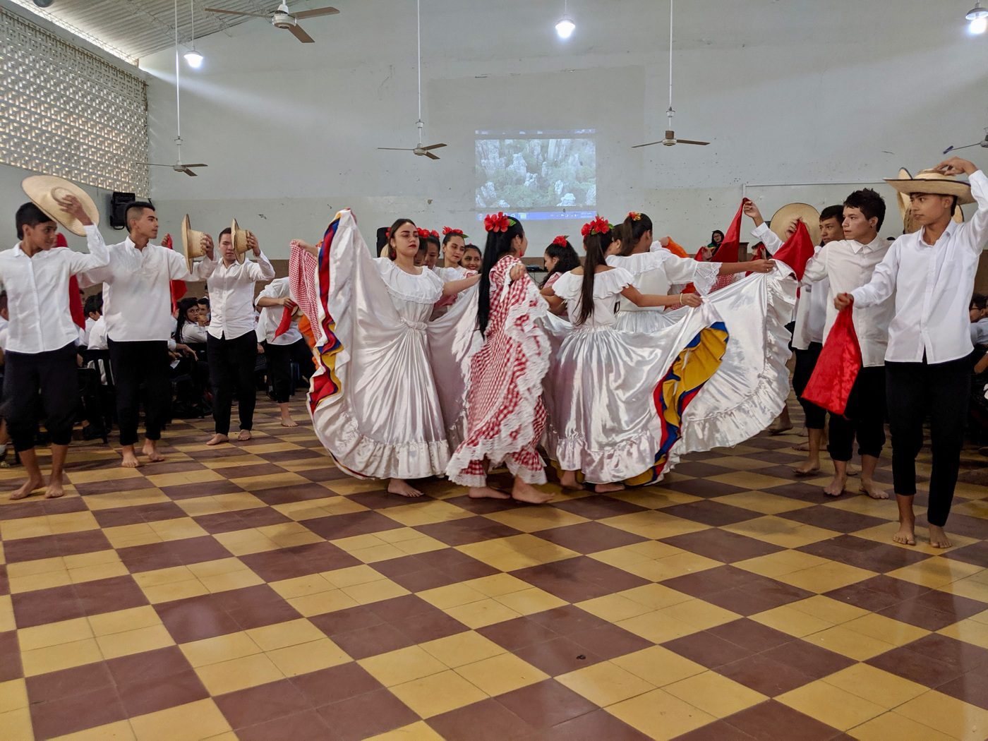 A cultural dance in Bogota performed by students.