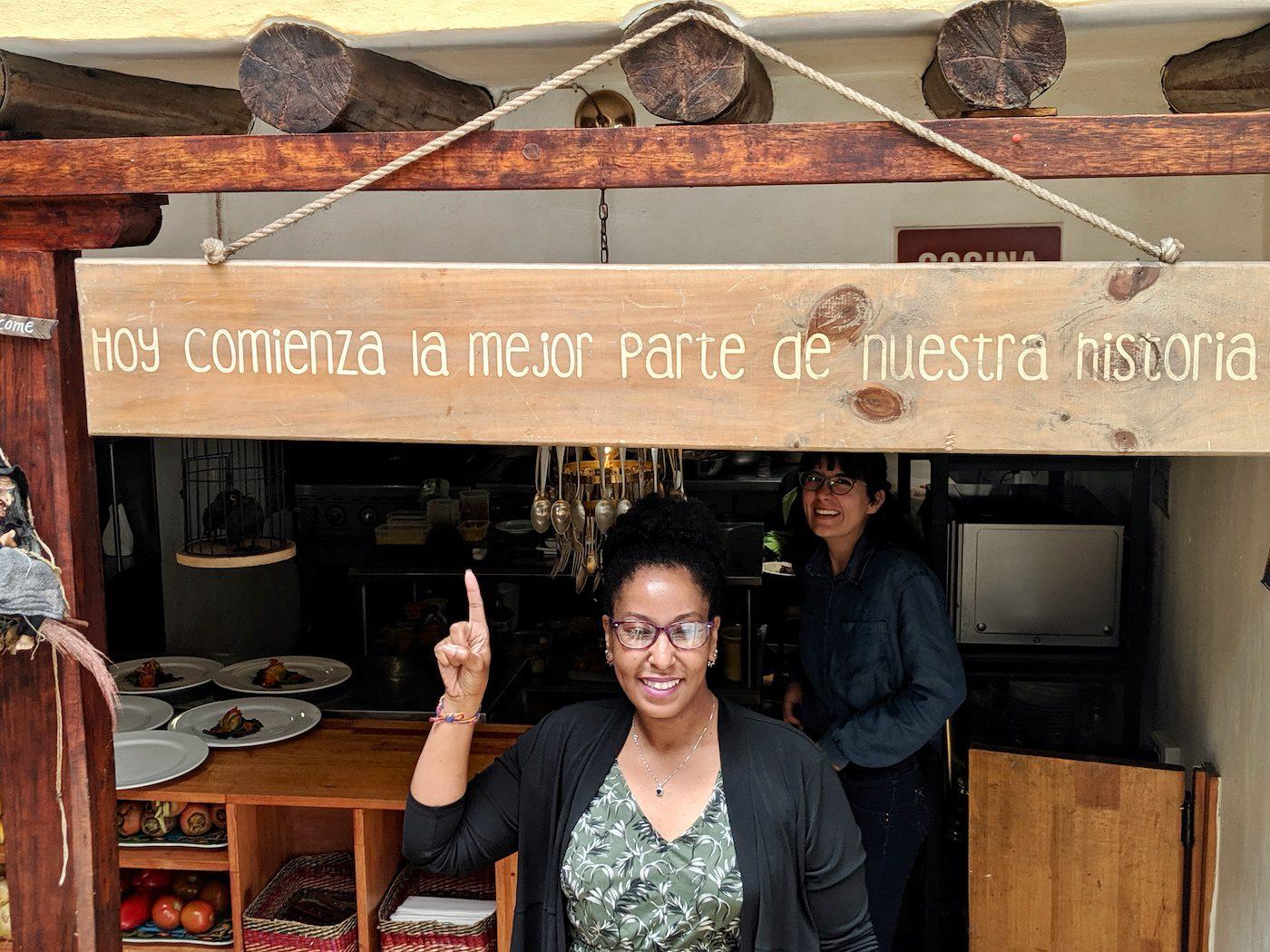 At La Bruja (The Witch) restaurant in the La Candelaria neighborhood of Bogota.