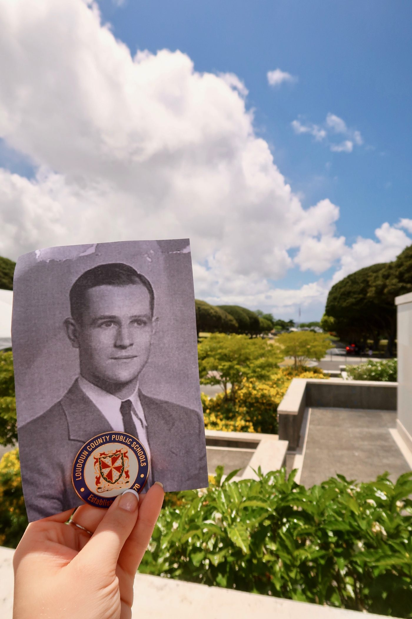 A soldier at a Hawaii Cemetery.