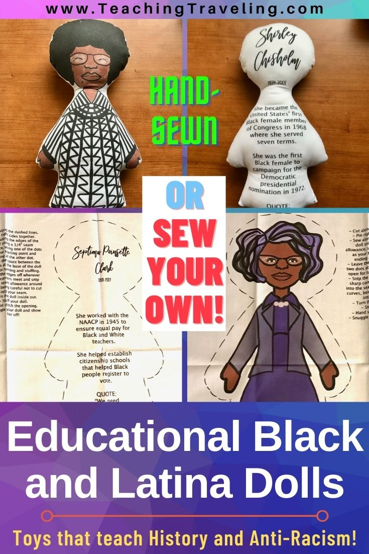 Looking for toys that teach a good message? These educational Latina and Black dolls help teach empowering Black and Brown History. Hand-made or sew your own.