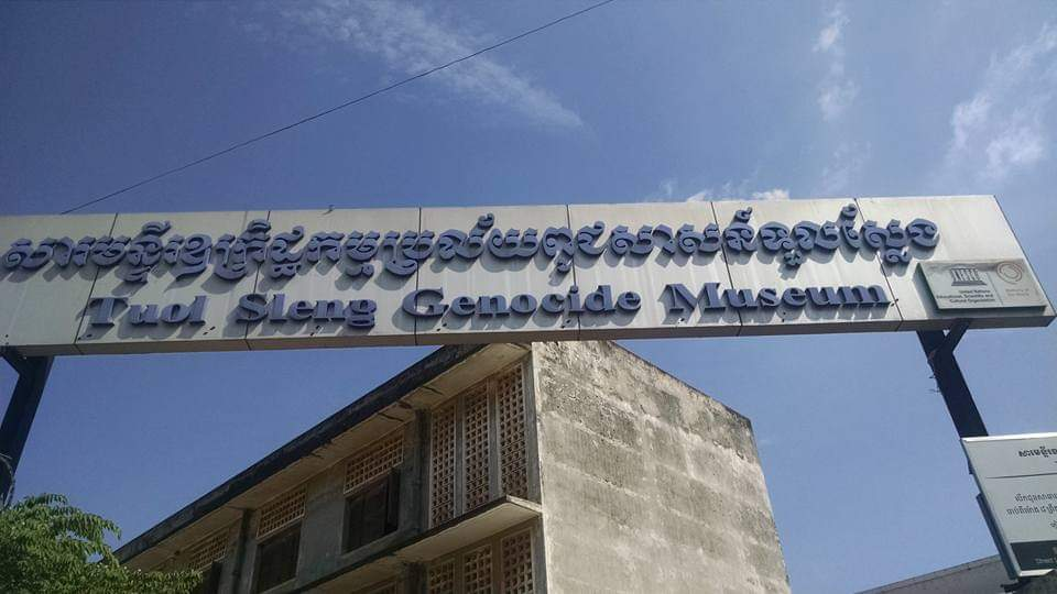 A sign for the Tuol Sleng Genocide Museum  which first inspired Stephanie to combine what she learned during my travels into teaching.