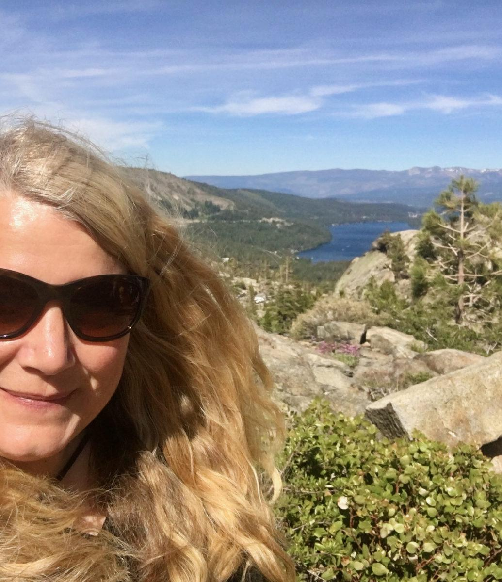 Julia Overlooks Donner Pass and the site for the passage of the First Transcontinental Railroad.